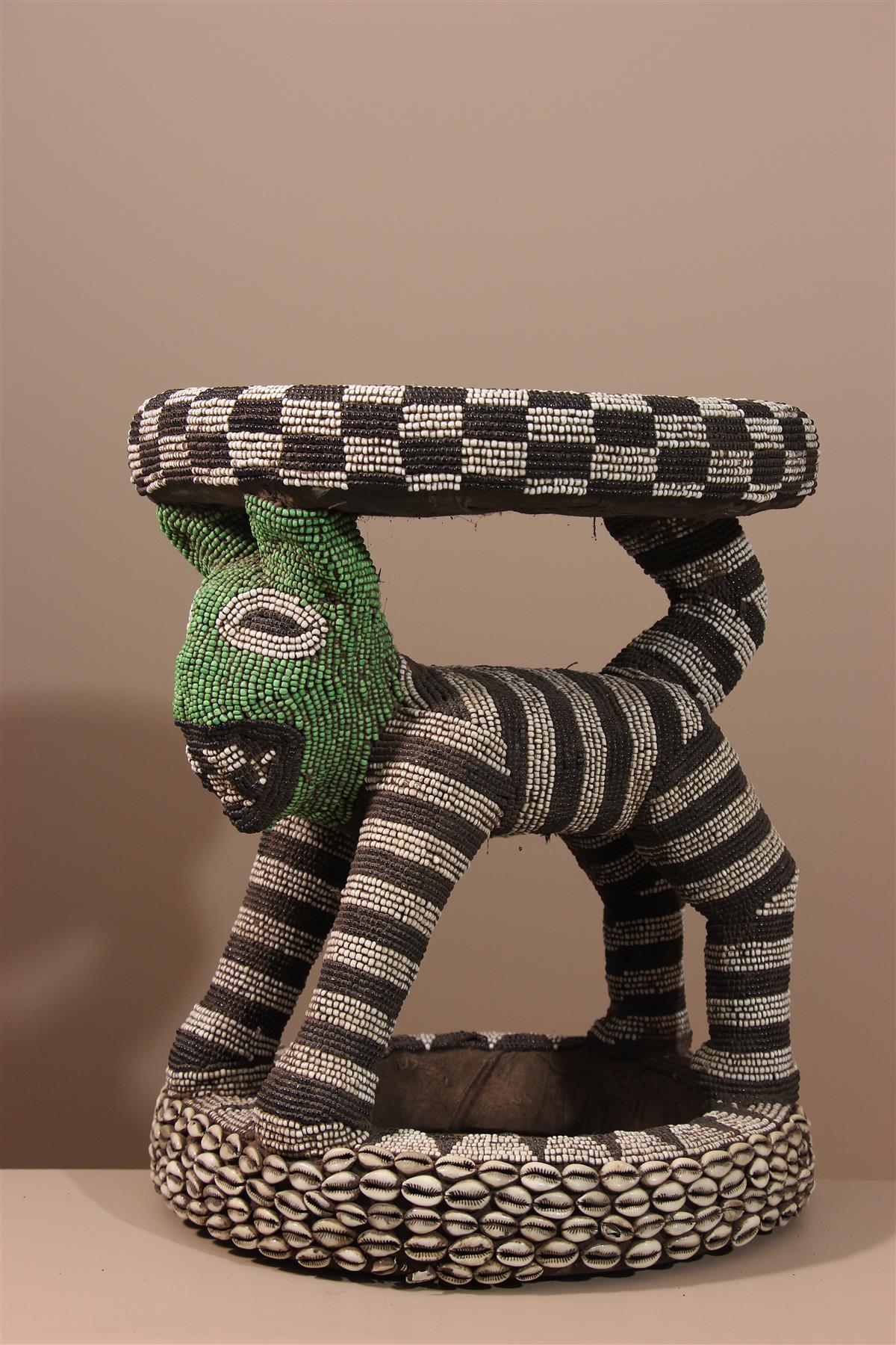 Tabouret perlé - Déco africaine - Art africain traditionnel