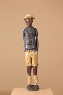 """Déco africaine - Art africain traditionnel - Statue """"Colon"""" Baoulé"""