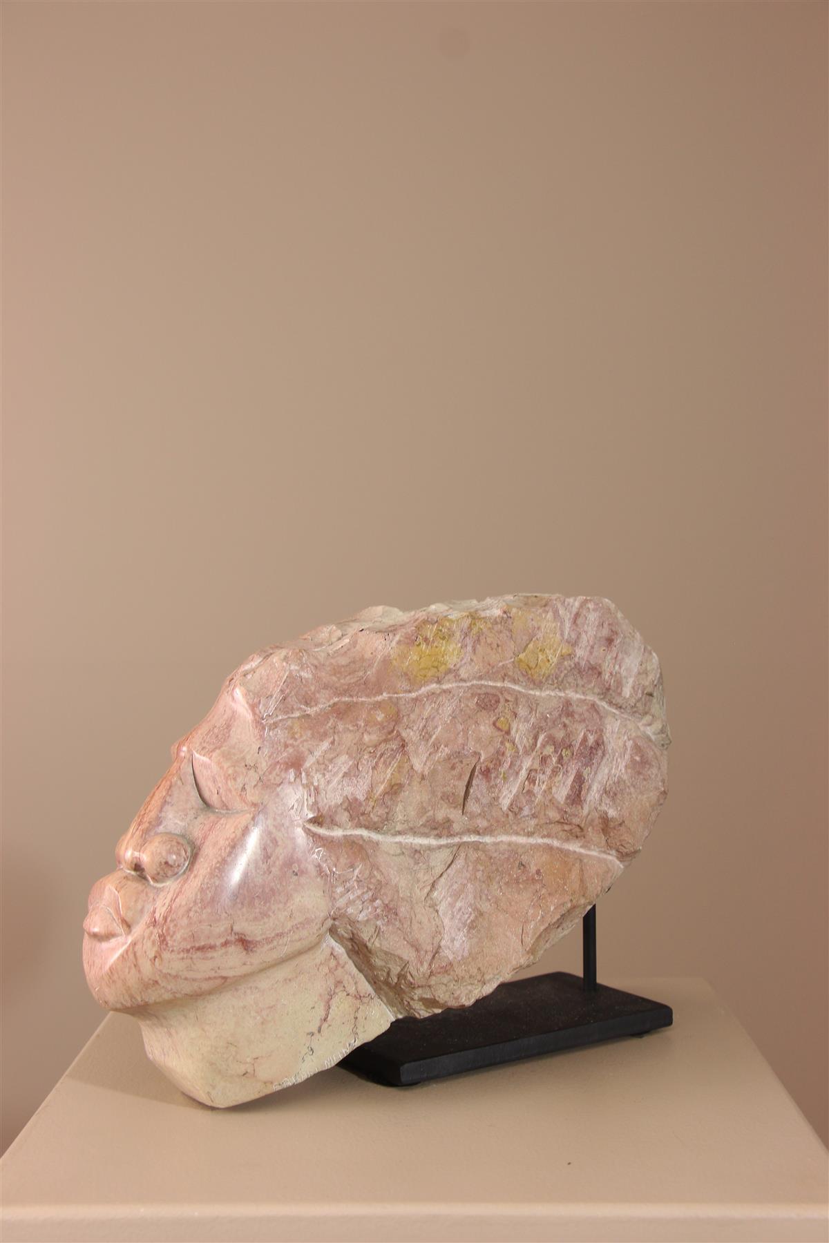 Tête sculptée - Déco africaine - Art africain traditionnel