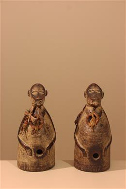Déco africaine - Art africain traditionnel - Couple de statuettes singes Baoulé Aboya