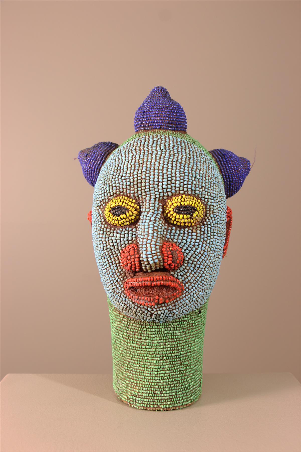 Tête perlée - Déco africaine - Art africain traditionnel