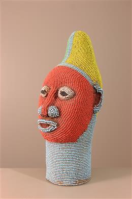 Déco africaine - Art africain traditionnel - Tête royale perlée