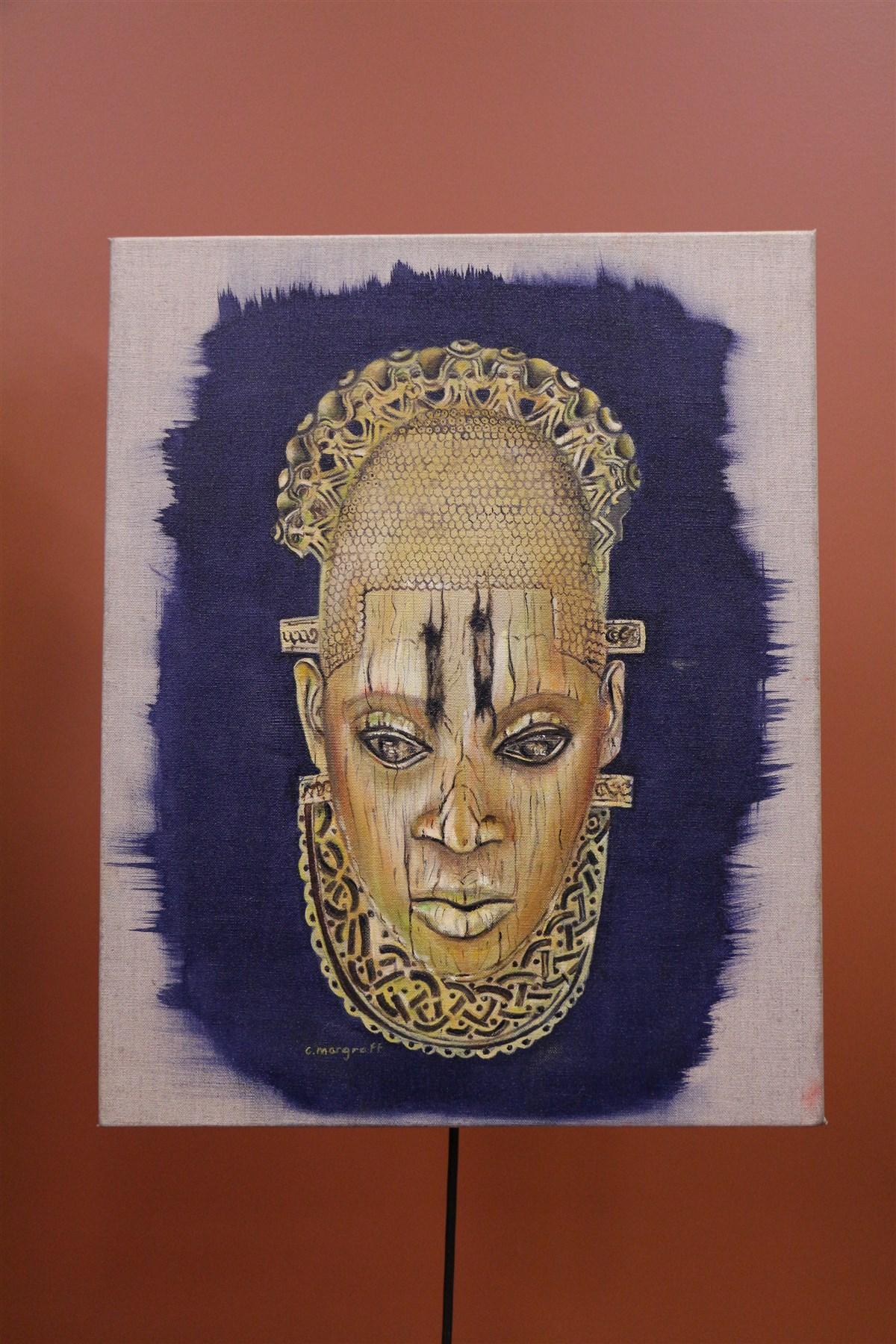 Huile sur toile d'inspiration art africain - Déco africaine - Art africain traditionnel