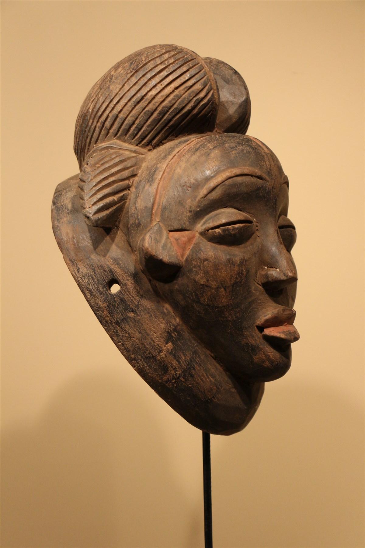 Masque Punu noir - Déco africaine - Art africain traditionnel