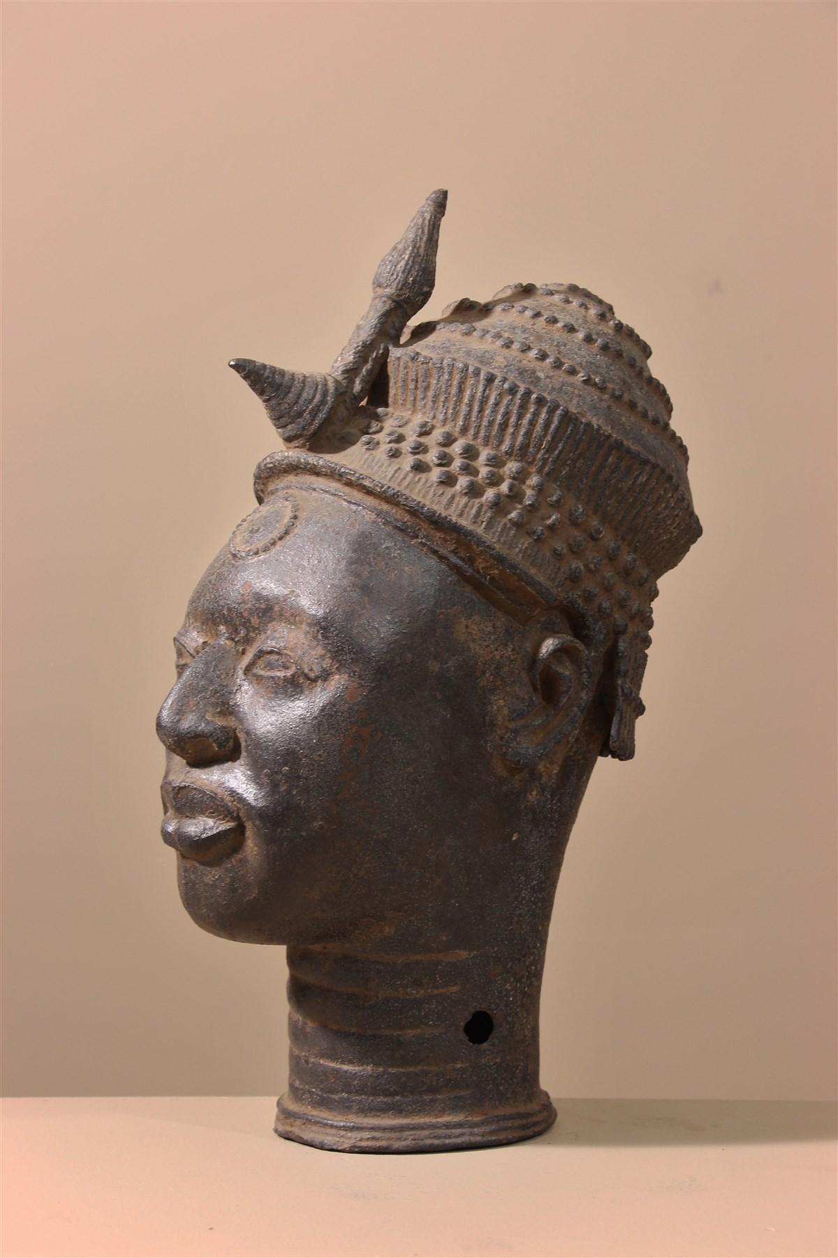Tête bénin en bronze - Déco africaine - Art africain traditionnel