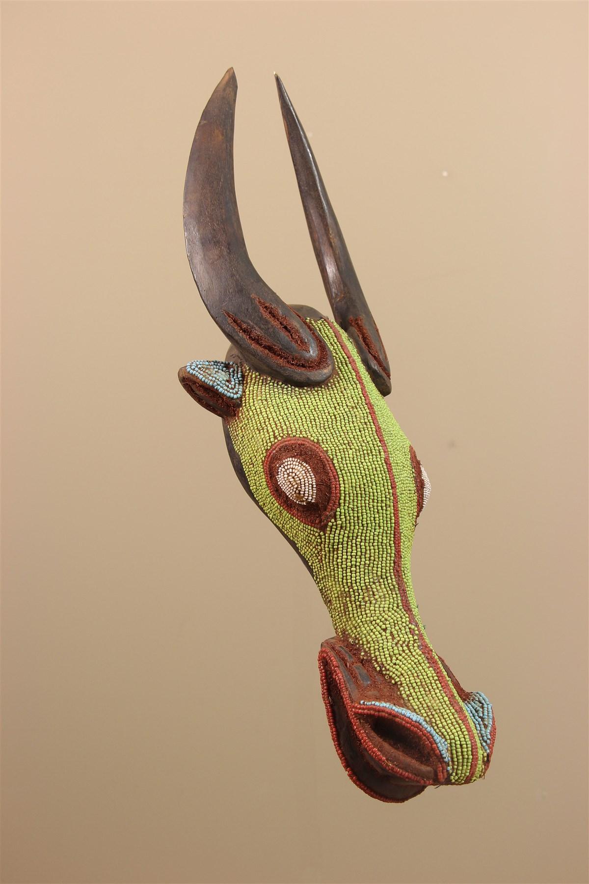Tête perlée buffle Bamileke / Bamoun - Déco africaine - Art africain traditionnel