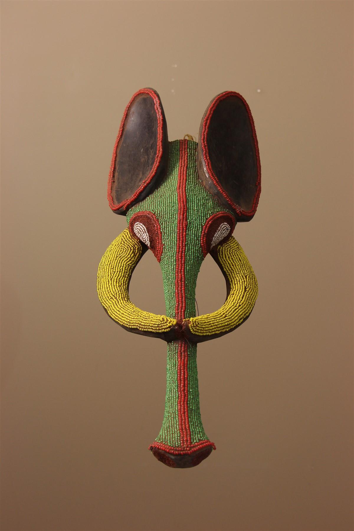 Masque perlé éléphant Babanki - Déco africaine - Art africain traditionnel