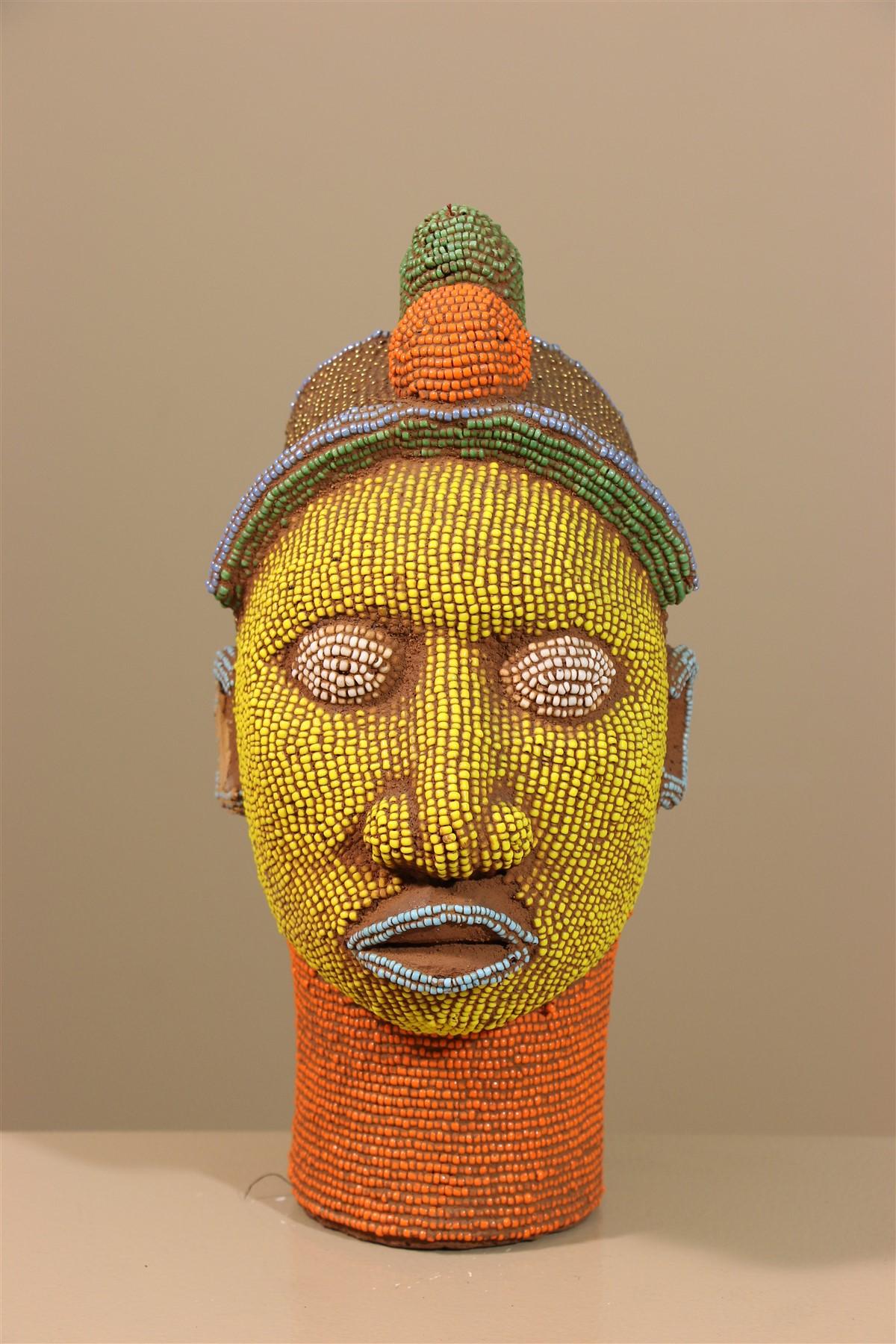 Tête royale perlée Bamileke - Déco africaine - Art africain traditionnel