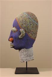 Statues africainesGrande tête royale perlée Bamileke