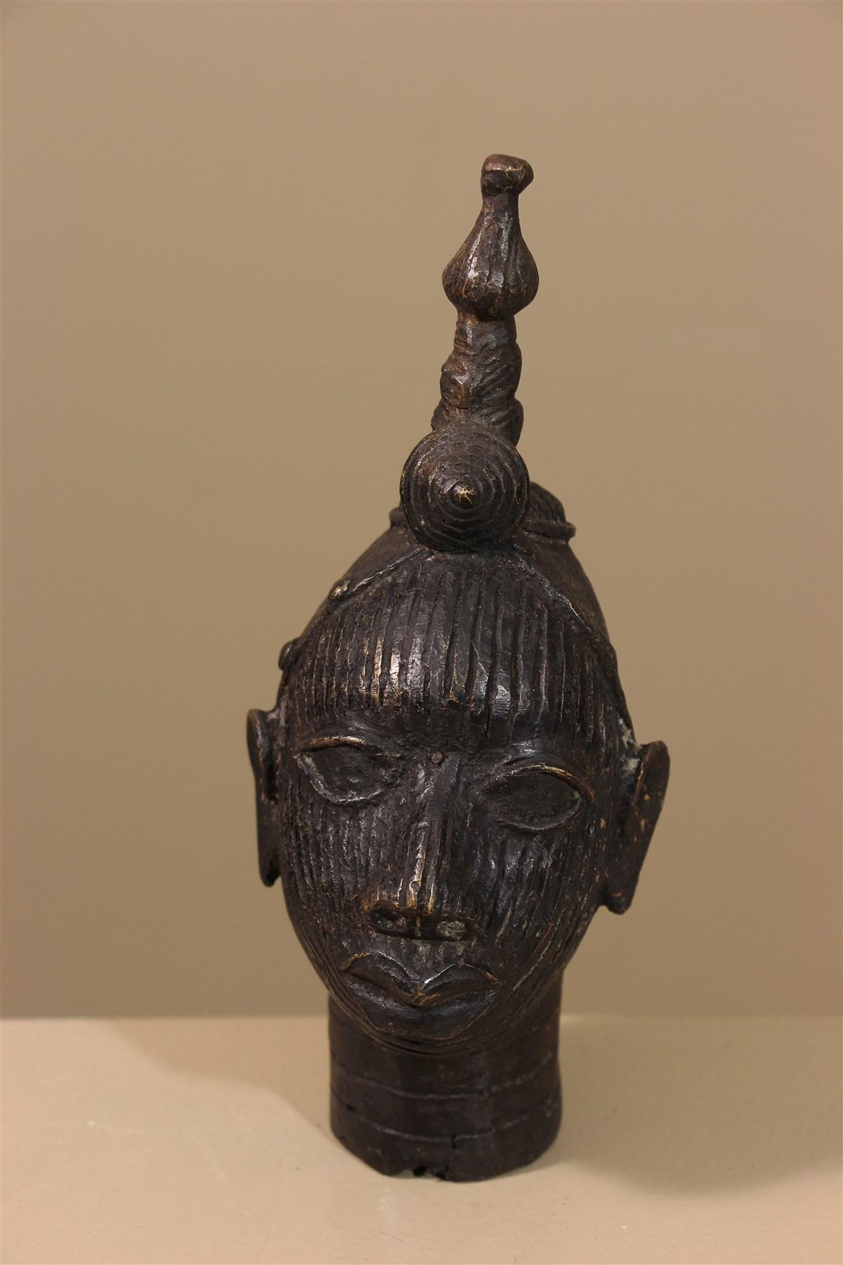 Tête Ifé du Nigeria en bronze - Déco africaine - Art africain traditionnel